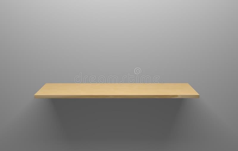 Nettoyez l'étagère en bois vide sur Grey Wall illustration stock