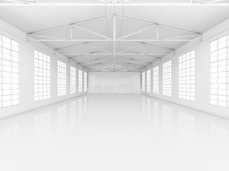 Nettoyez l'entrepôt vide blanc avec des fenêtres illustration stock
