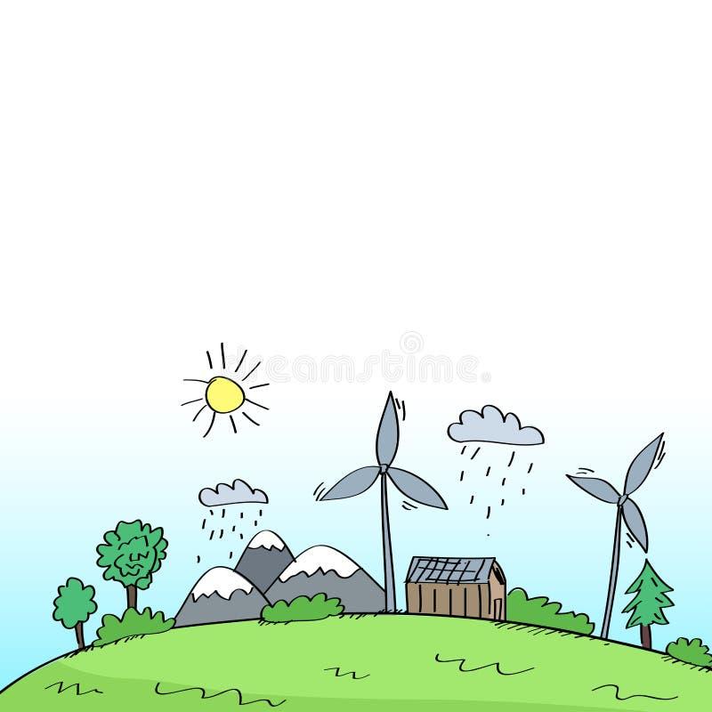Nettoyez l'environnement avec le concept d'énergie renouvelable illustration de vecteur