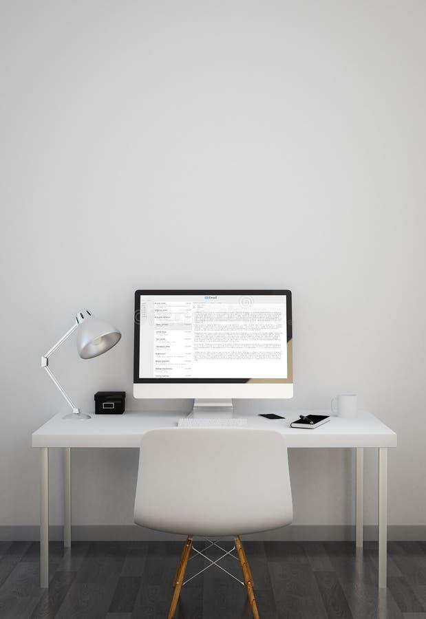 nettoyez l'espace de travail avec le logiciel de courrier illustration stock