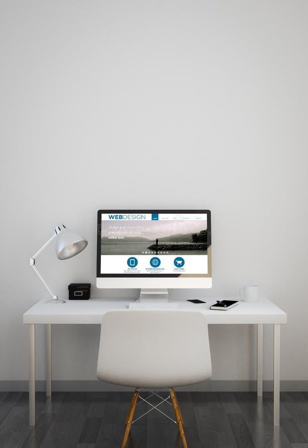 Nettoyez l'espace de travail avec le site Web de web design illustration libre de droits