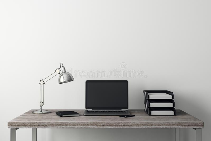 Nettoyez l'intérieur avec l'ordinateur portable illustration de vecteur