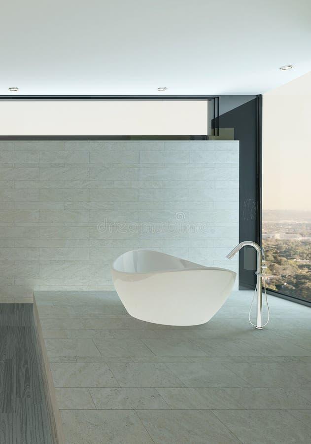 Nettoyez l'intérieur de salle de bains avec le mur et le plancher et la baignoire carrelés illustration libre de droits