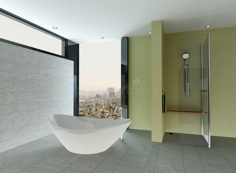 Nettoyez l'intérieur de salle de bains avec le mur et le plancher et la baignoire carrelés illustration de vecteur