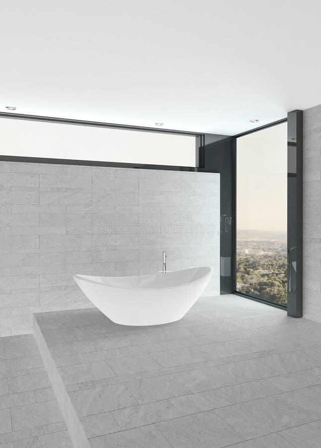 Nettoyez l'intérieur de salle de bains avec le mur et le plancher et la baignoire carrelés illustration stock