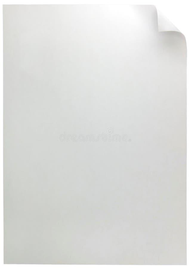 Nettoyez la feuille de texture d'isolement par enroulement de page blanc illustration stock