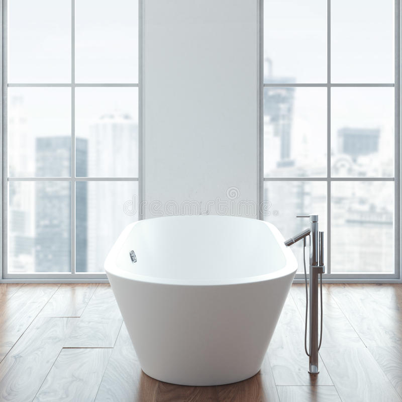 Nettoyez le bain blanc dans l'intérieur moderne de grenier rendu 3d illustration stock