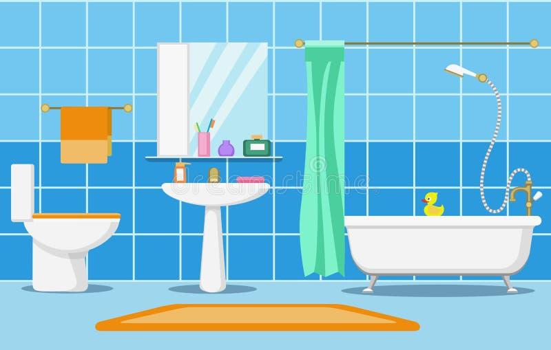 Nettoyez le bel intérieur de salle de bains illustration libre de droits