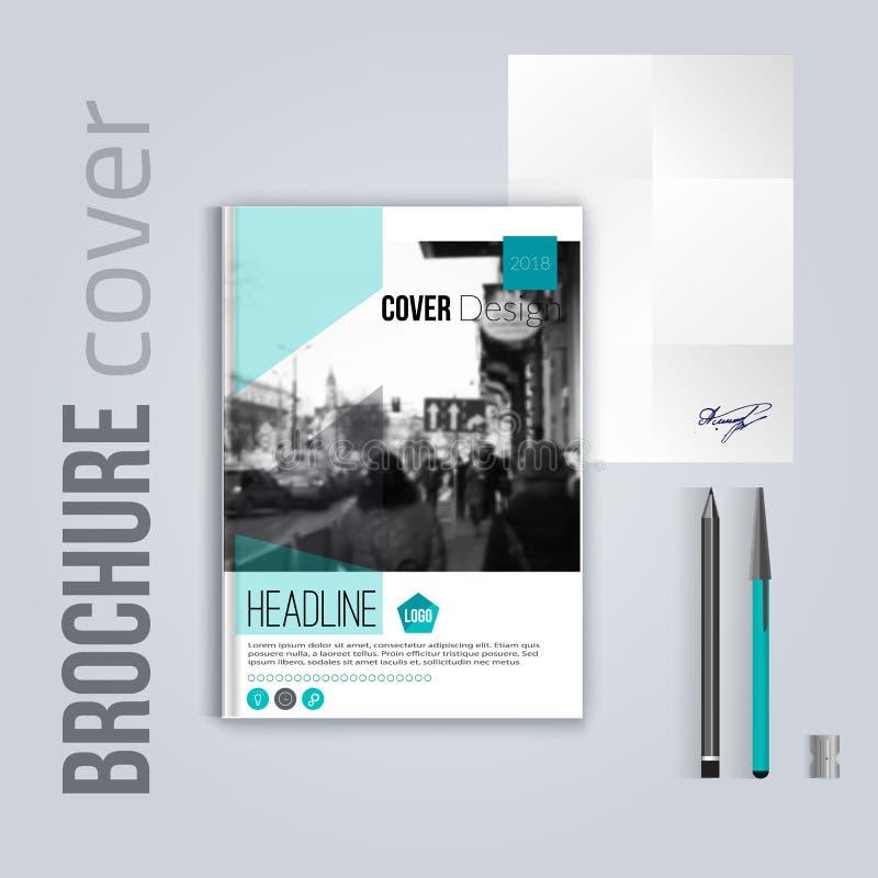 Nettoyez le calibre de couverture de brochure avec la lettre et le stylo blured de paysage de ville Template de corporation pour  illustration libre de droits