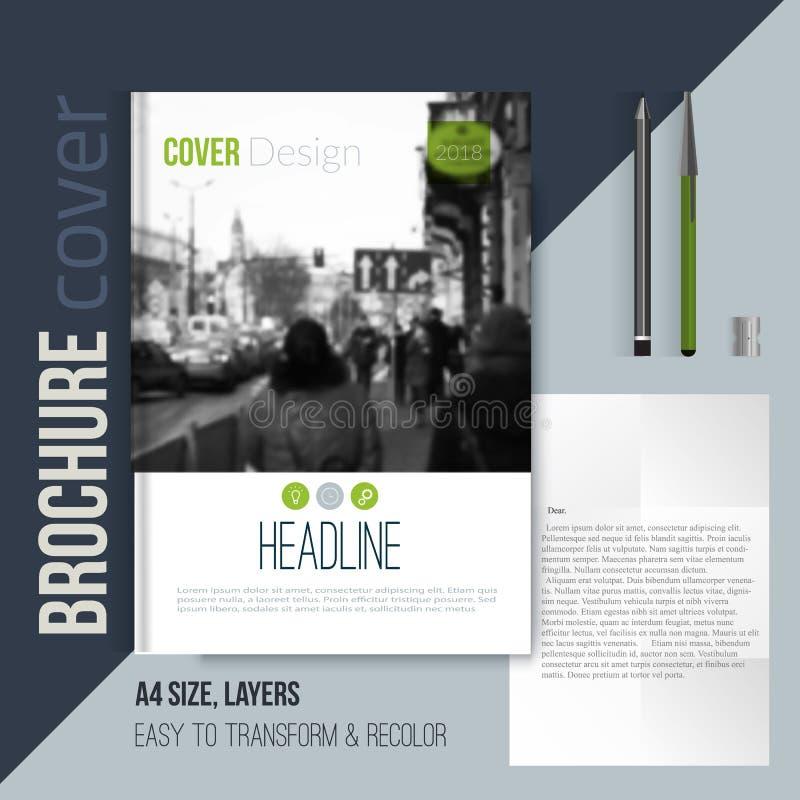 Nettoyez le calibre de couverture de brochure avec la lettre et le stylo blured de paysage de ville Template de corporation pour  illustration de vecteur