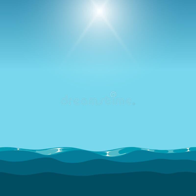 Nettoyez le ciel bleu au-dessus du fond d'océan illustration de vecteur