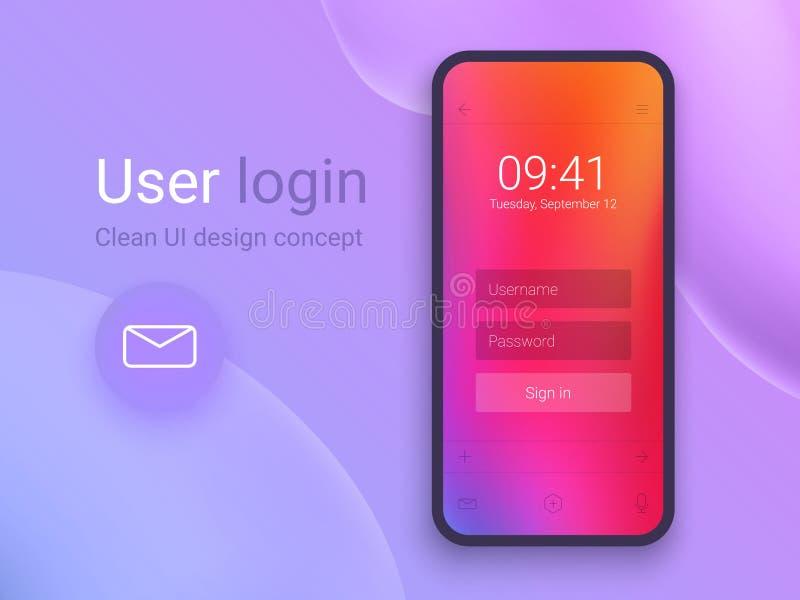 Nettoyez le concept de construction mobile d'UI Application de login avec la fenêtre de forme de mot de passe Gradients olographe illustration stock