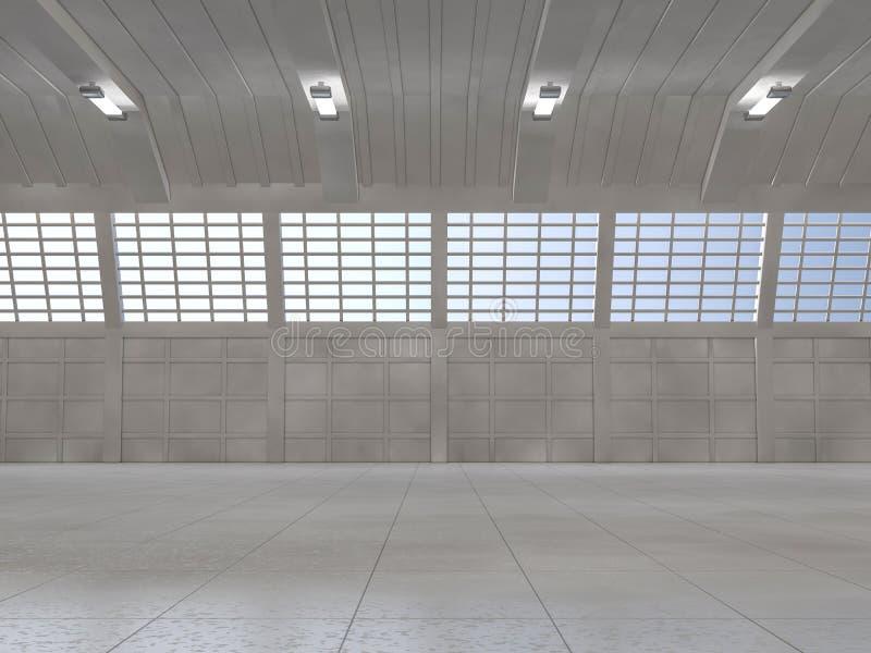 Nettoyez le fond clair d'entrepôt 3d photographie stock libre de droits