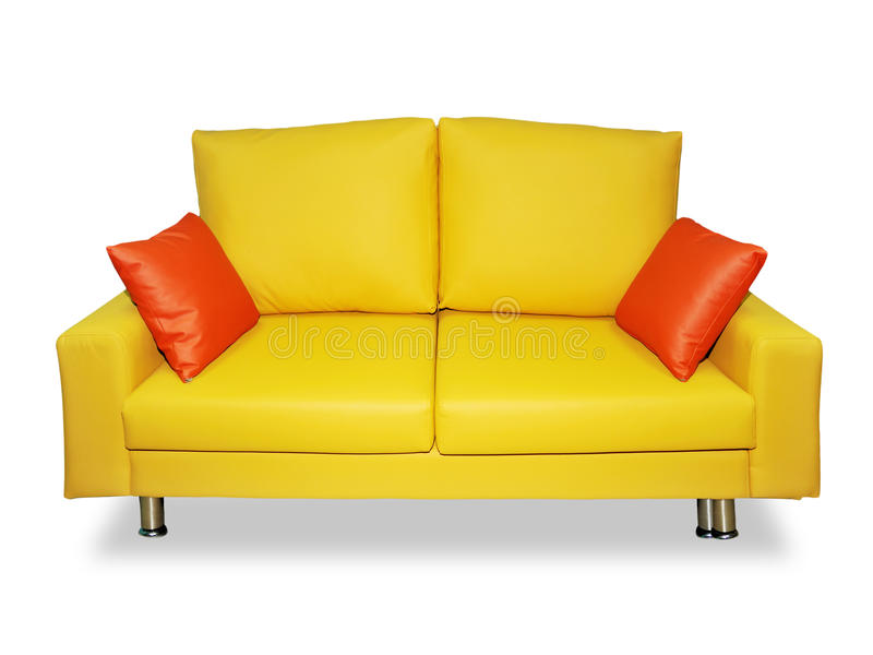 nettoyez le jaune de sofa d'oreillers photos stock