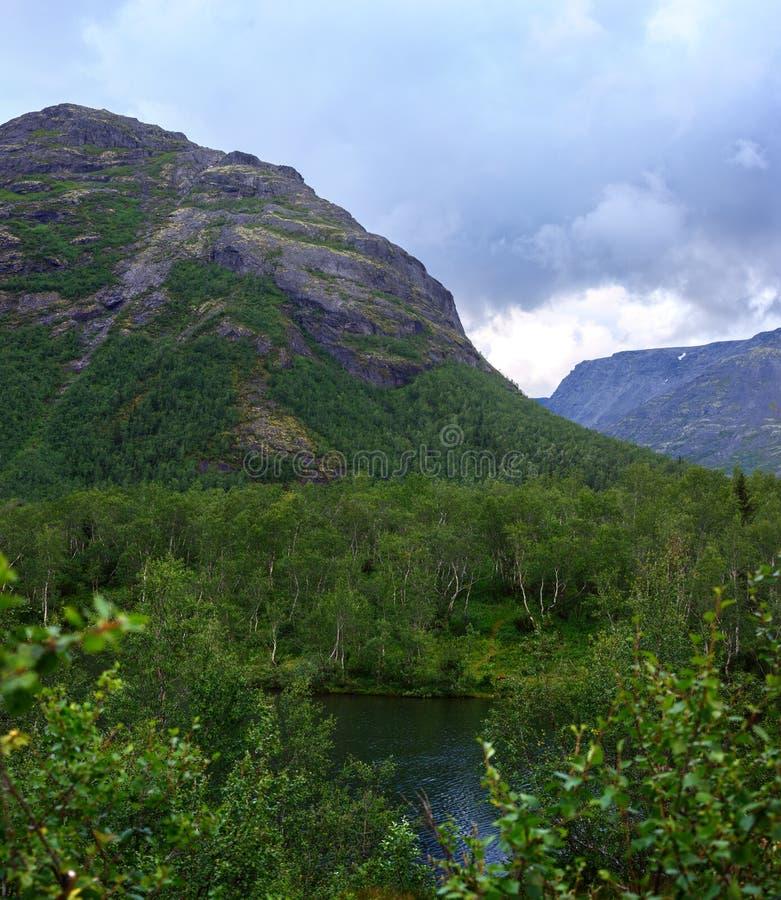 Nettoyez le lac au pied des montagnes de Khibiny, Kola Peninsula, images stock