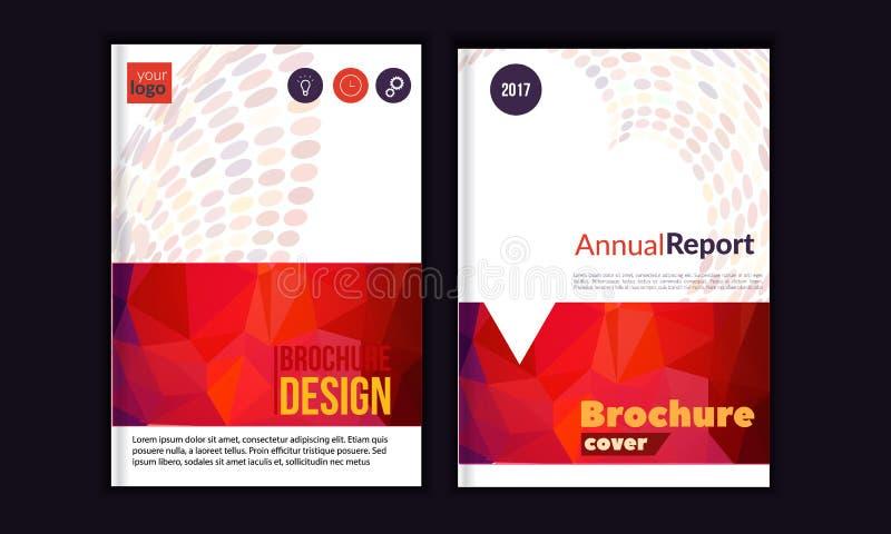 Nettoyez le rapport annuel de vecteur Calibre de brochure, conception de disposition de couverture de livre, calibres rouges de p illustration libre de droits