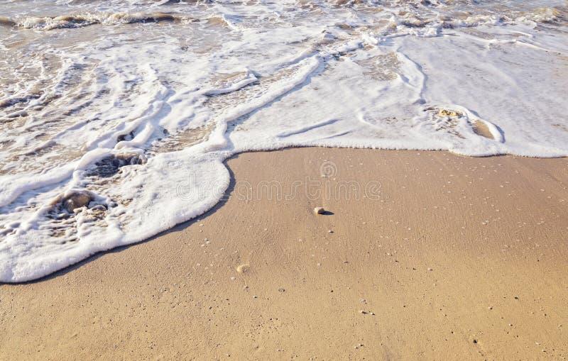 Nettoyez le sable de mer sur la plage avec une vague mousseuse entrante photos stock