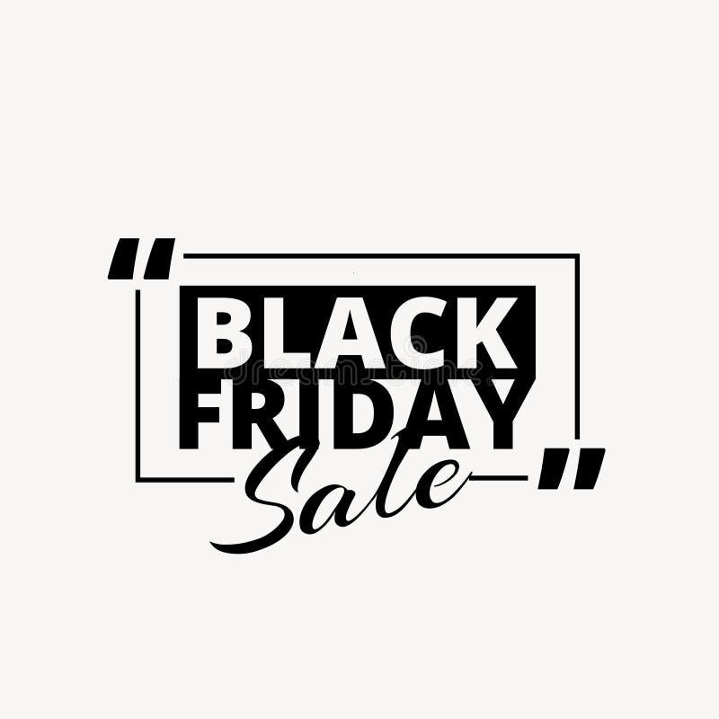 Nettoyez le texte promotionnel de vente noire de vendredi dans la couleur noire illustration stock