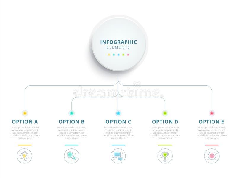 Nettoyez les WI minimalistic d'infographics de diagramme de processus d'étape des affaires 5 illustration de vecteur