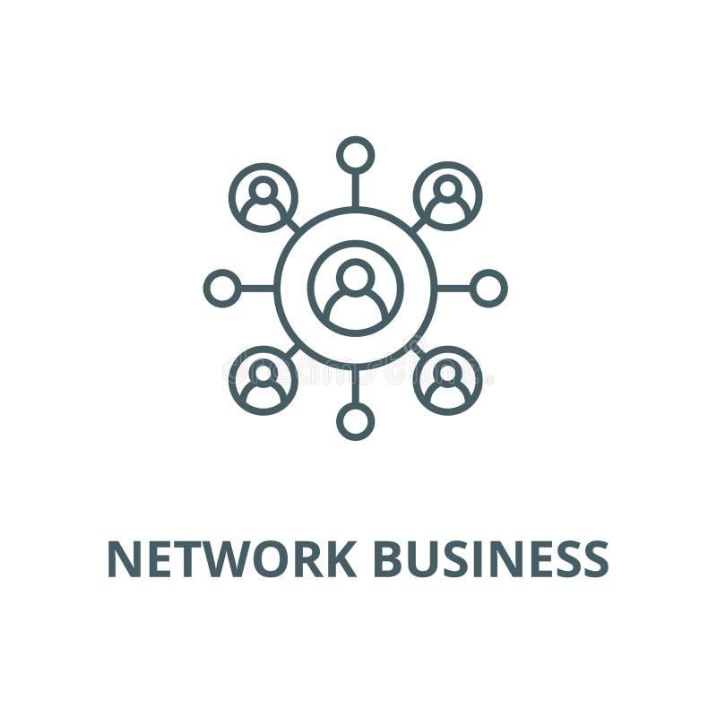 Netwerk bedrijfs vectorlijnpictogram, lineair concept, overzichtsteken, symbool stock illustratie