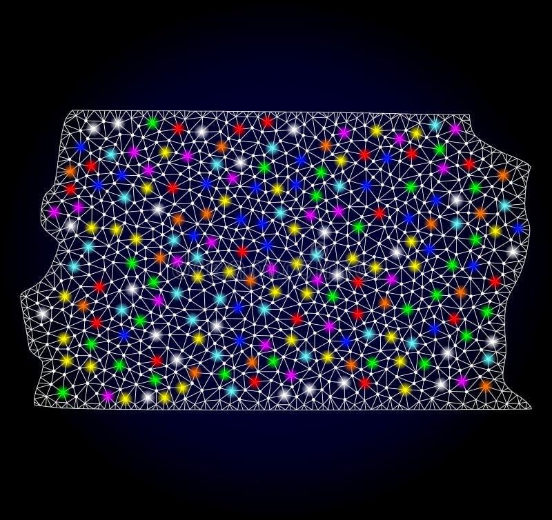 Netwerk 2D Kaart van Brazili? - Distrito Federaal met Heldere Lichte Vlekken royalty-vrije illustratie