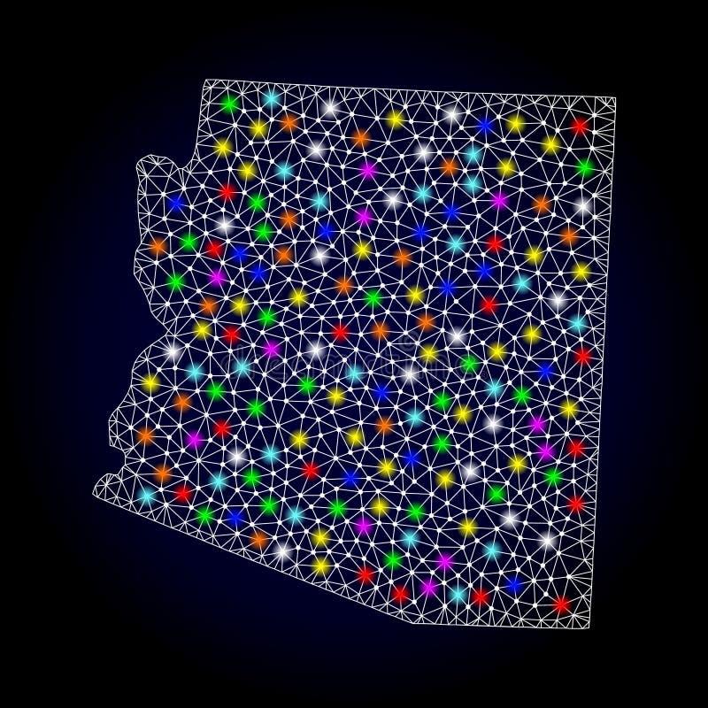 Netwerk 2D Kaart van de Staat van Arizona met Kleurrijke Lichte Vlekken vector illustratie