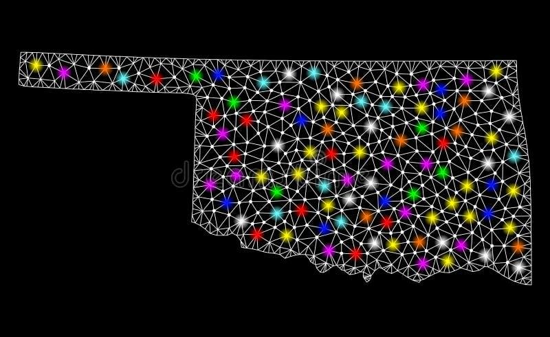 Netwerk 2D Kaart van de Staat van Oklahoma met Heldere Lichte Vlekken vector illustratie