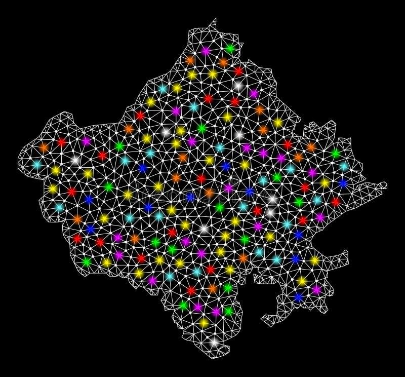 Netwerk 2D Kaart van de Staat van Rajasthan met Kleurrijke Lichte Vlekken vector illustratie