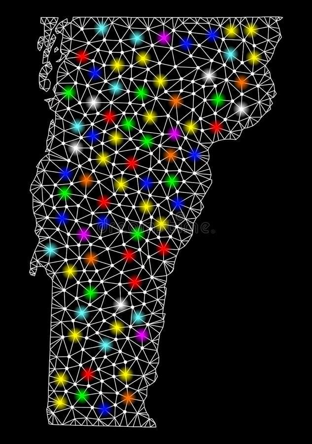 Netwerk 2D Kaart van de Staat van Vermont met Kleurrijke Lichte Vlekken royalty-vrije illustratie