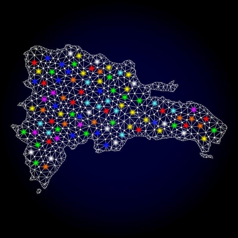 Netwerk 2D Kaart van Dominicaanse Republiek met Heldere Lichte Vlekken vector illustratie