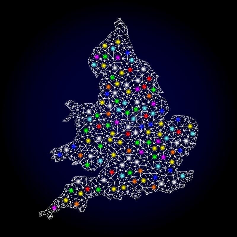 Netwerk 2D Kaart van Engeland met Heldere Lichte Vlekken vector illustratie