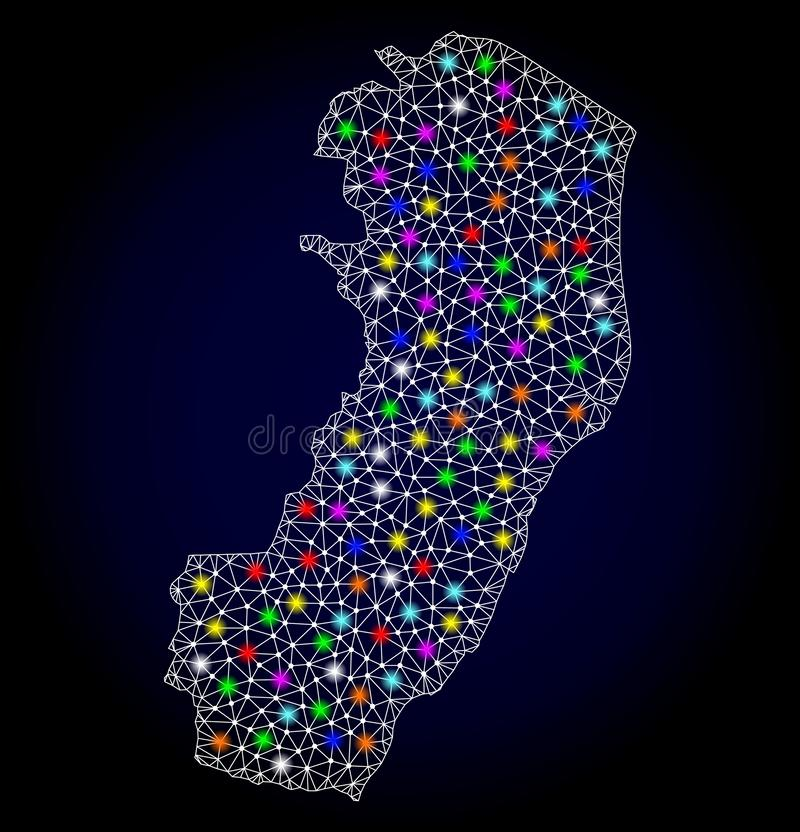 Netwerk 2D Kaart van Espirito Santo State met Kleurrijke Lichte Vlekken vector illustratie