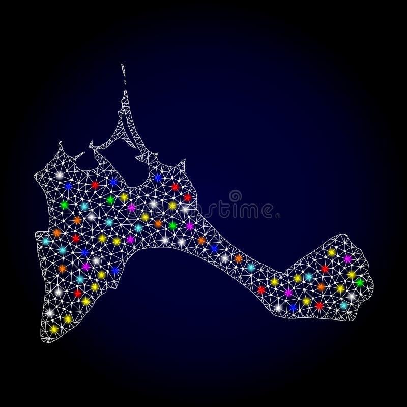 Netwerk 2D Kaart van Formentera Eiland met Kleurrijke Lichte Vlekken royalty-vrije illustratie
