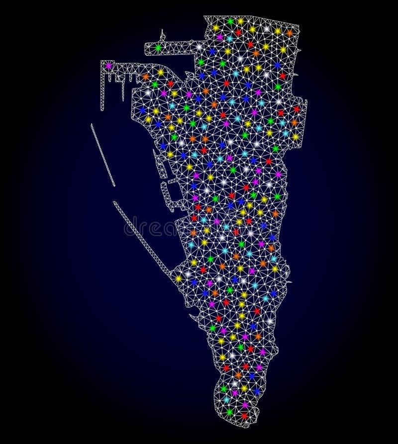Netwerk 2D Kaart van Gibraltar met Kleurrijke Lichte Vlekken vector illustratie