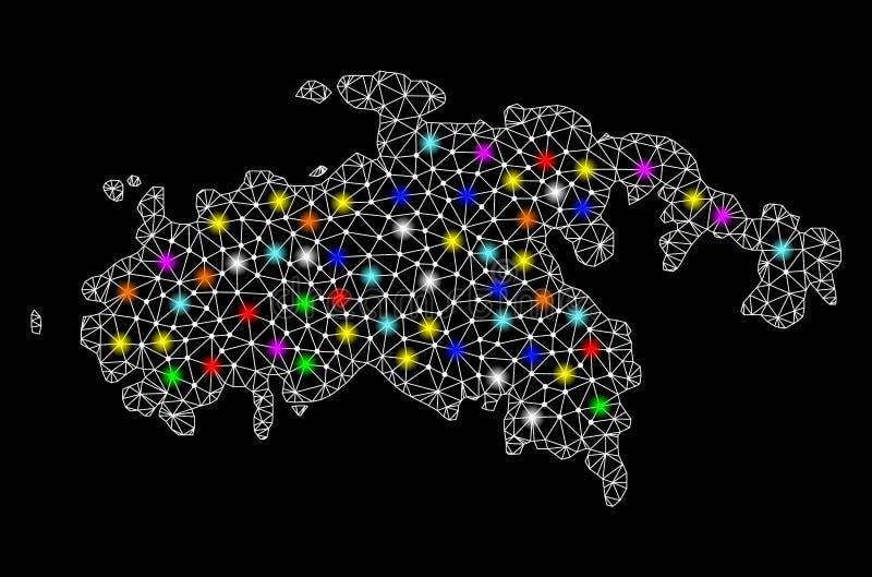 Netwerk 2D Kaart van Heilige John Island met Heldere Lichte Vlekken vector illustratie