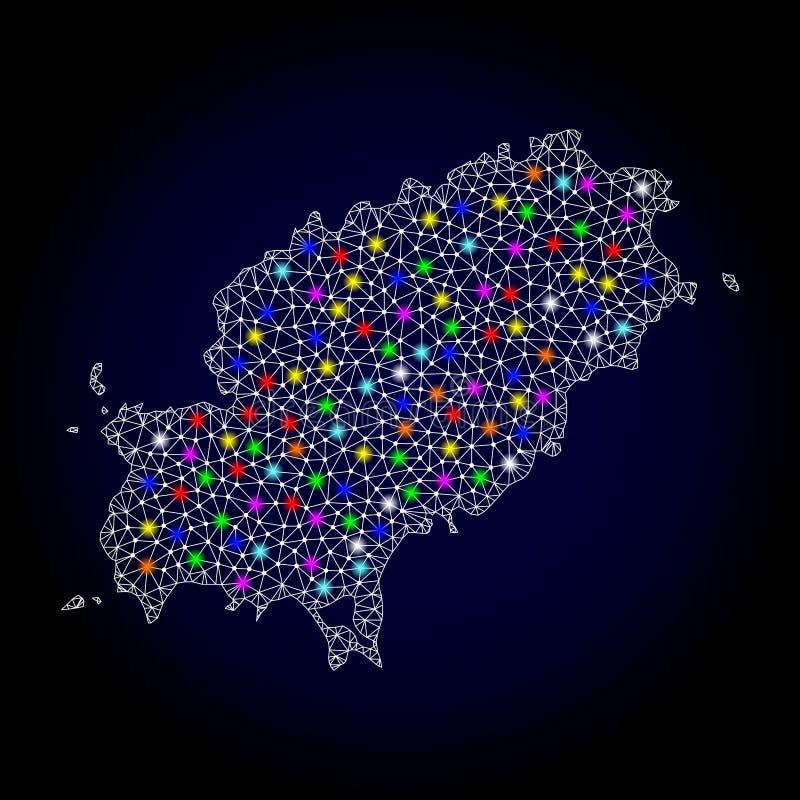 Netwerk 2D Kaart van Ibiza-Eiland met Heldere Lichte Vlekken stock illustratie