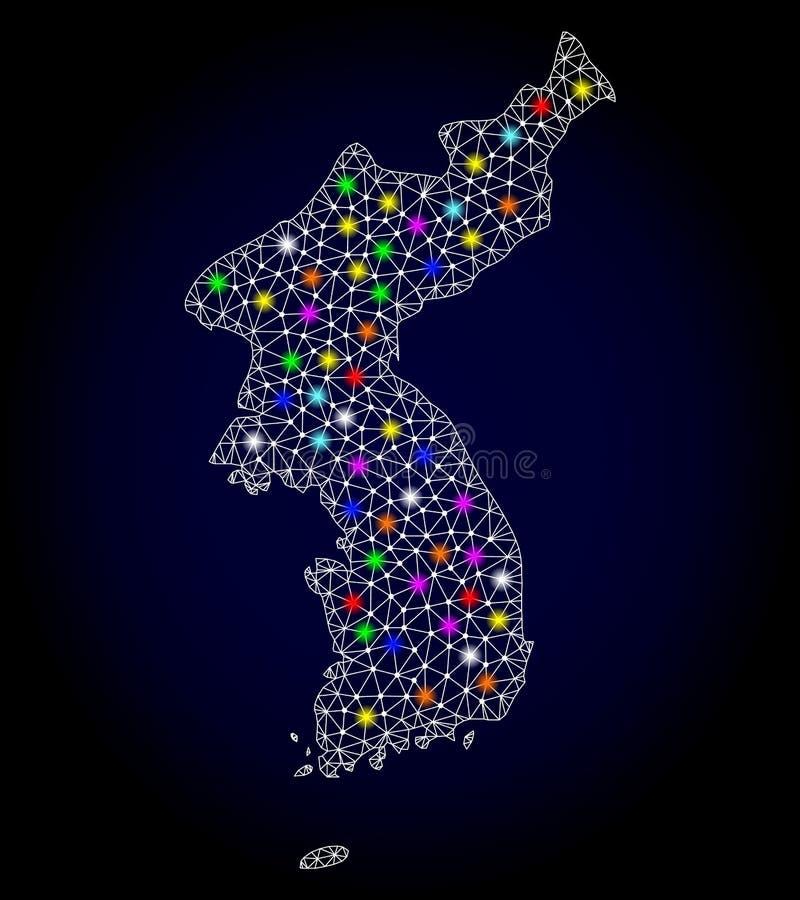 Netwerk 2D Kaart van Korea met Kleurrijke Lichte Vlekken vector illustratie