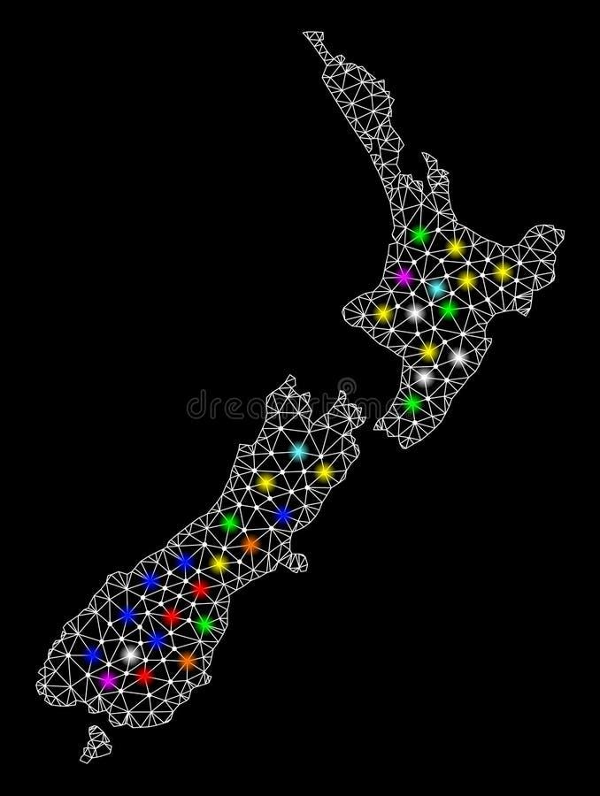 Netwerk 2D Kaart van Nieuw Zeeland met Heldere Lichte Vlekken stock illustratie