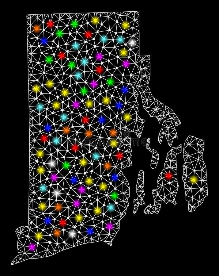 Netwerk 2D Kaart van Rhode Island State met Heldere Lichte Vlekken stock illustratie