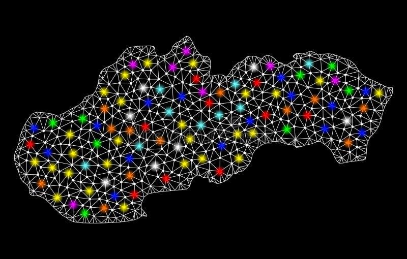 Netwerk 2D Kaart van Slowakije met Kleurrijke Lichte Vlekken royalty-vrije illustratie