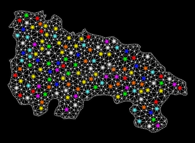 Netwerk 2D Kaart van Spanje - La Rioja met Kleurrijke Lichte Vlekken vector illustratie