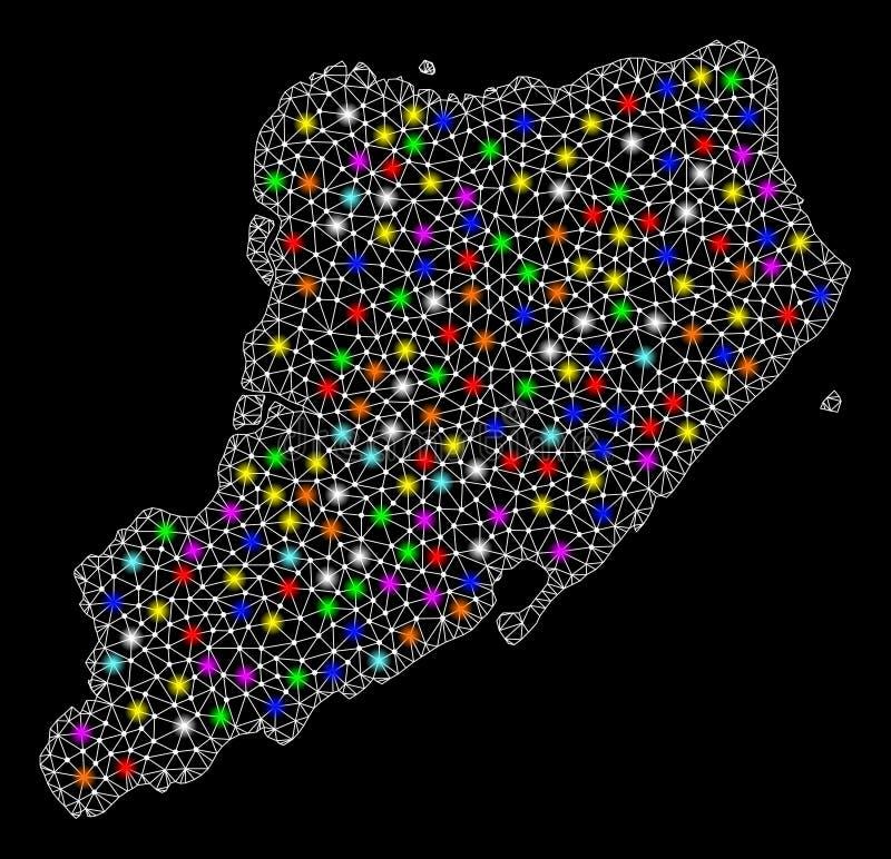 Netwerk 2D Kaart van Staten Island met Heldere Lichte Vlekken vector illustratie