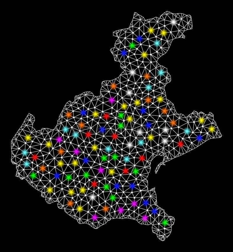 Netwerk 2D Kaart van Veneto Gebied met Kleurrijke Lichte Vlekken royalty-vrije illustratie