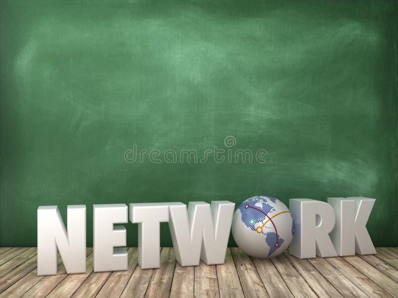 NETWERK 3D Word met Bolwereld op Bordachtergrond vector illustratie