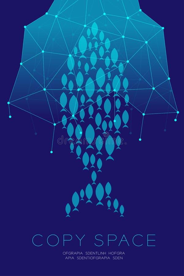 Netwerk de Marketing plaatste online Reclame met visnet stock illustratie