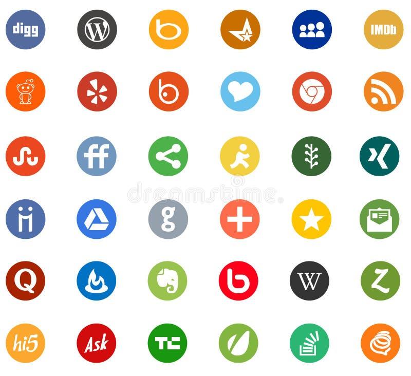 Netwerk de Sociale media pictogrammen van het bedrijfembleem stock illustratie