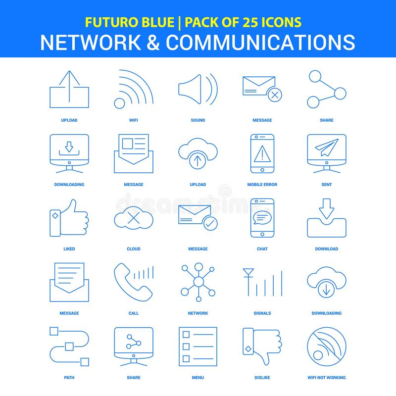 Netwerk en Communicatie Pictogrammen - Blauw 25 Pictogrampak van Futuro vector illustratie