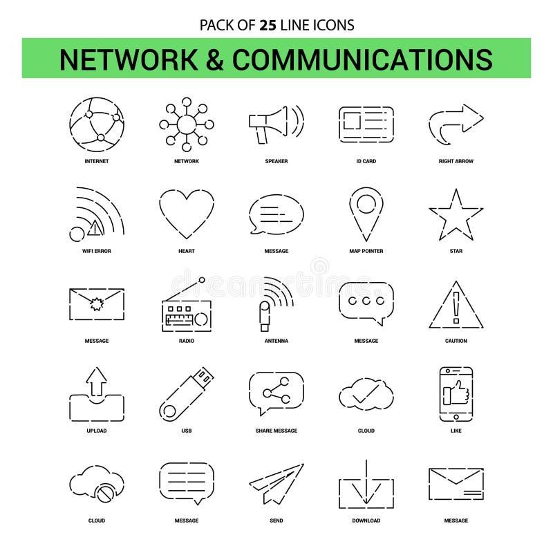 Netwerk en Communicatielijn Geplaatst Pictogram - 25 Gestormd Overzicht Styl stock illustratie
