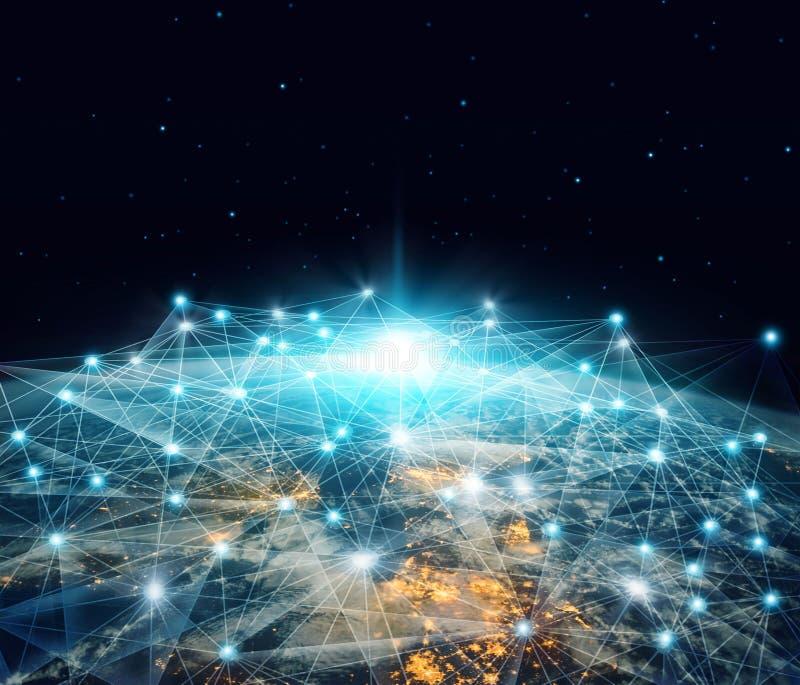 Netwerk en gegevensuitwisseling Globale die voorzien van een netwerkzaken en telecommunicatie over aarde in het ruimte 3D terugge vector illustratie