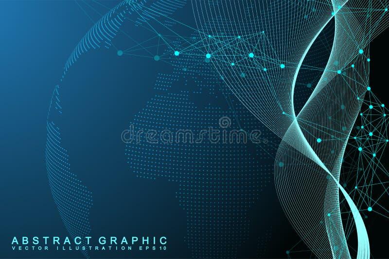 Netwerk en gegevensuitwisseling over aarde in ruimte Virtuele grafisch royalty-vrije illustratie